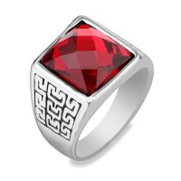 Cincin Pria Stainless Steel Red Square Agate Vintage style Stone