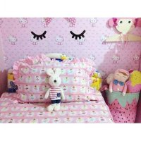 Grosir Murah Wallpaper Sticker Dinding Hello Kitty Pink 10 M X 45 Cm Termurah08