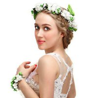 [macyskorea] Valdler Foam Paper Rose Flower Crown with Floral Wrist Band for Wedding Festi/18491077
