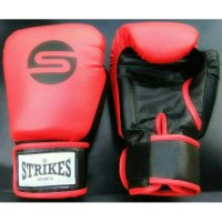 GLOVES MUAYTHAI RED BLACK STRIKES | SARUNG TINJU