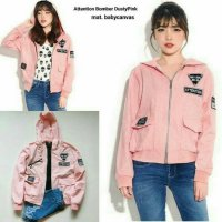 Jaket Bomber Wanita Attention Pink | sweater | jas | blazer | parka | parasut | bomber