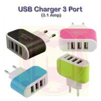 Charger Adapter 3 USB (3.1Amper) | Batok Charger 3 Port | Kepala Charger 3 USB