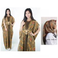 SB Collection Stelan Rianti Dress Maxi Kaftan Longdress Hijab Segi Empat Batik Wanita