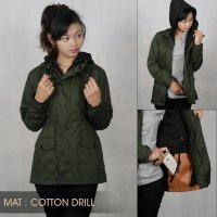Jaket Parka Cotton Drill Cewe Ukuran M Fit L
