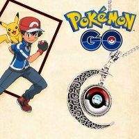 [KALUNG] 022DA3r Pokemon Moon Pendant Long Necklace Silver Color