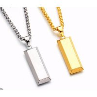 DJ classic Cube Bar Bullion Necklace & Pendant Gold Plated necklace Hiphop BRAND Dance Charm new york Chain men Jewelry man Gifts A