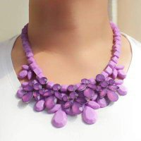 KALUNG 018660r Pewter Purple Tassels Cloth Accessory Style Alloy Korean Necklaces Purple