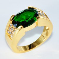 Fashion designer Size 8-11 Male Men Ring Big Stone Zirconia Cz Crystal Gold Filled Mens Engagement Wedding Ring Jewelry For Gift gold green 8