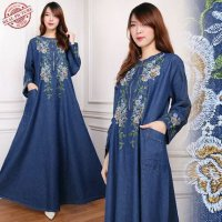 SB Collection Dress Maxi Yuliati Gamis Panjang Longdress Payung Jeans Wanita