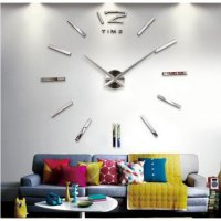 3D Giant Wall Clock / Jam Dinding - Silver