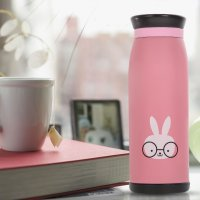 Colourful Cute Cartoon Thermos Insulated Mik Water Bottle 500ml - Pink