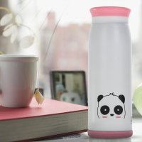 Colourful Cute Cartoon Thermos Insulated Mik Water Bottle 500ml - White
