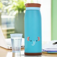 Colourful Cute Cartoon Thermos Insulated Mik Water Bottle 500ml - Blue