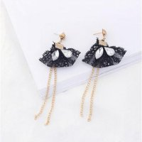 anting panjang fashion lace tassel rantai long dangling earring jan109