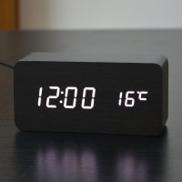 Jam Alarm LED Wood - Black White