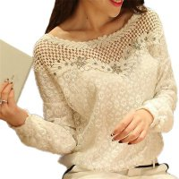 Blouses 2017 Autumn Women Lace Blouse Long Sleeve White Floral Patchwork Shirt Ladies Hollow Out Casual Top Shirts Long XL