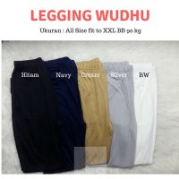 Celana Legging Wudhu Fit XL Jumbo BB 90 Kg Bahan Adem Stocking Muslim