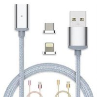 Kabel Charger Magnetic 2 in 1 Micro USB & Lightning - Silver