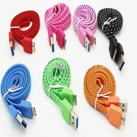 Taff Flat Braided Micro B USB 3.0 Charging SYNC Cable For Galaxy Note 3/4 - White