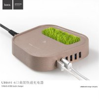 Hoco UH601 Intelligent Balance USB Wall Travel Charger 6 Port 8A - Brown