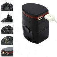 Universal Travel Adapter 4 in 1 EU UK USA Plug with 1A USB Port - Black