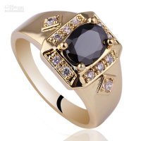 Men Wide Cross Shape Black Onyx Gold Finish S925 Sterling Silver Ring MAN Size 8 to 13 R117 13 Clear