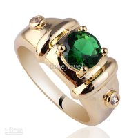 Royal Mens 7mm Round Green Emerald Gold Finish Sterling Silver Ring 925 MAN GFS Sz 10 11 12 R115 US Size:12 10-13