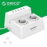 Orico Wall Charger with 2 AC Outlet and 5 USB Charger Port - ODC-2A5U - White
