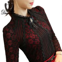 S-3XL Plus size Lace shirt female long sleeved Casual Lace Tops Spring 2016 fashion Slim Floral Vintage Women blouse XXL Red