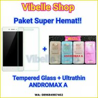 [PAKET] Andromax A Softcase Ultrathin + Tempered Glass Andromax A