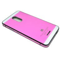 Aluminium Tempered Glass Hard Case for Xiaomi Redmi Note 3 / Note 3 Pro (KENZO) - Pink with White Side