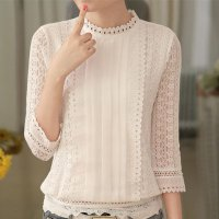 women autumn casual white lace blouse fashion sexy 3/4 sleeve stand collar crochet tops summer korean shirt clothes M White