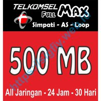 Telkomsel Data Full MAX 500MB (Simpati, Kartu AS, Loop) 24jam 30hari