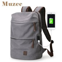 Muzee 2018 New Canvas Backpack USB Design Backpack Men male Student Bag for Weekend Mochila suit for 15.6 inches Latop backpack Y1890401 Coffee