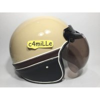 (Half Face) HELM BOGO KNC SEMI KULIT CREAM RETRO HALF FACE