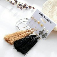 6pairs bohemian alloy tassel earring fashion simple