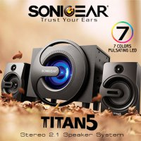 SONICGEAR TITAN 5 BTMI Wooden Subwoofer With 7 Colors Pulsating Led Woofer