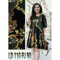 JUMBO DRESS MORYN CR BAHAN KATUN BATIK MIX BRUKAT FIT TO XL