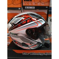 (Half Face) Helm INK METRO 2#1 WH/RD FLUO
