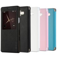 Taff Leather Flip Single Window Case for Samsung Galaxy A7 2015 - Black