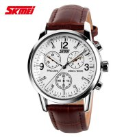 SKMEI Jam Tangan Analog Leather Strap - 9070CL - White