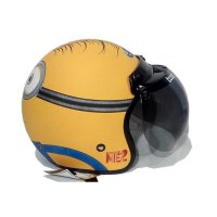 #Half Face Helm Retro Bogo Klasik JPN Minion Shocked Face Kuning Doff Plus Kaca B