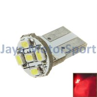 Lampu LED Mobil / Motor / Senja T10 / Wedge Side PCB 5 SMD 1210 - Red
