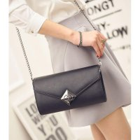 KGS Tas Pesta/Formal Wanita Metal Diamond Clutch Shoulder Bag - Hitam