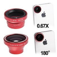 Fisheye Wide Angle Lens 180 Degree + Detachable 0.67X Wide and Macro Lens for iPhone 4 & 4S / Mobile Phone / Digital Camera (Lens below Dia. 13mm) - Red