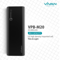 #AA023 - ViVAN 20400mAh Powerbank Quick Charge 3.0 VPB-M20 + fm100