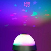 jam weker projector digital alarm led flash colors