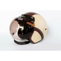 #Half Face Helm Retro Bogo Cream-Brown + Kacamata Bogo asli