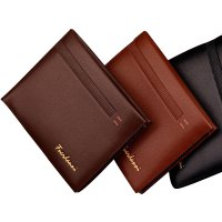 [FREE ONGKIR] Men Leather Card Cash Receipt Holder Organizer Bifold Wallet Stripe Purse