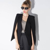 [globalbuy] Plus Size One Button Women Long Sleeve Lapel Cape Poncho Office Ladies Blazer /3987580